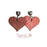 Ombre Wooden Hearts earrings